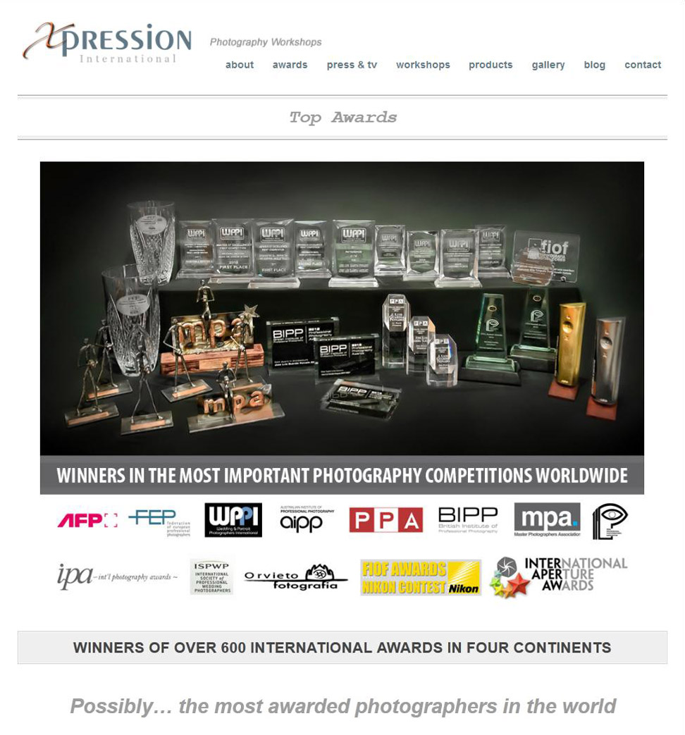 Xpression International Awards and Honors